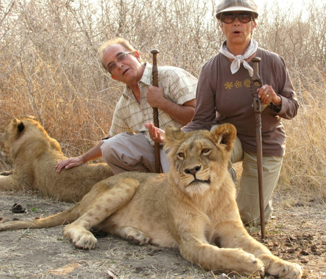 Bo and sister Laurie in Africa with lions